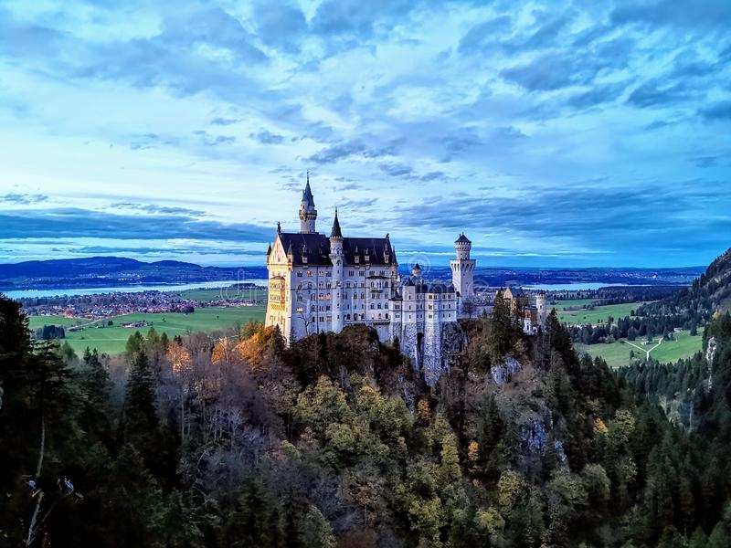 Neuschwangau castle at twilight royalty free stock image