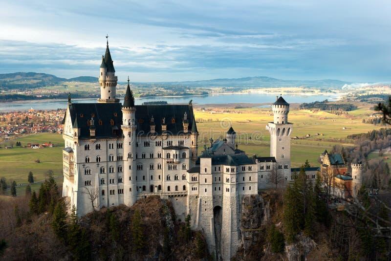 Neuschwanstein castle at dusk royalty free stock photos