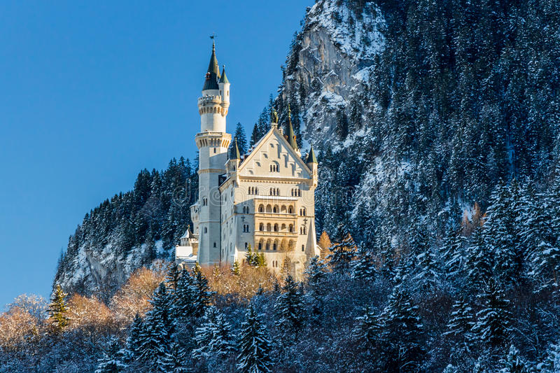 Neuschwanstein Castle on early morning in winter royalty free stock photography