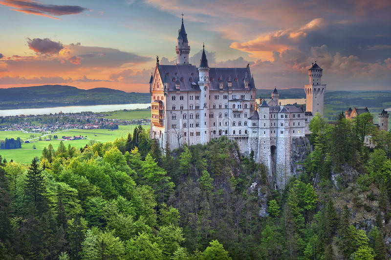 Neuschwanstein Castle, Germany. Image of Neuschwanstein Castle, Germany during spring afternoon surrounded by spring colours royalty free stock photography
