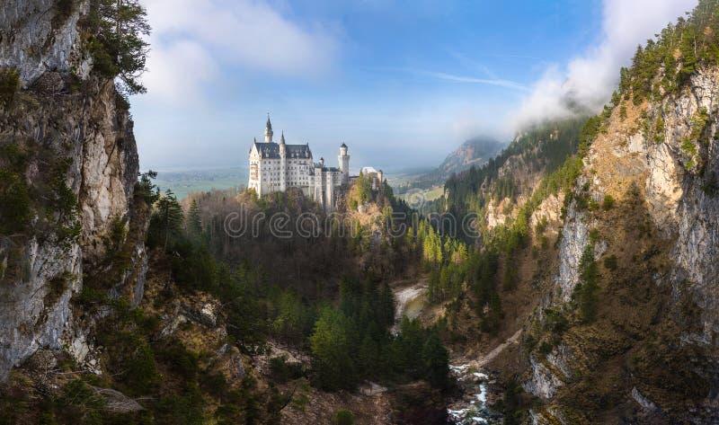 Neuschwanstein castle panorama. The fairytale Neuschwanstein castle as a panorama stock images
