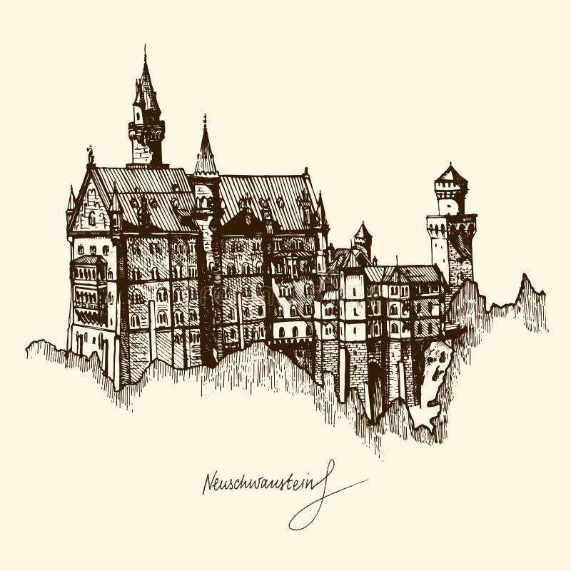 Neuschwanstein Castle sketch. Hand-painted fairy tale castle in Bavaria, Germany. vector illustration