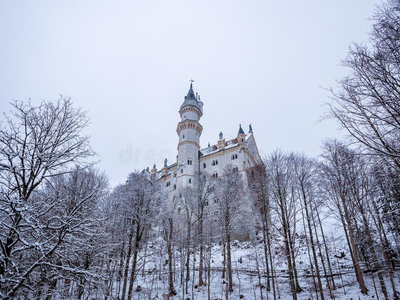 Neuschwanstein Castle in winter landscape. Germany stock photo