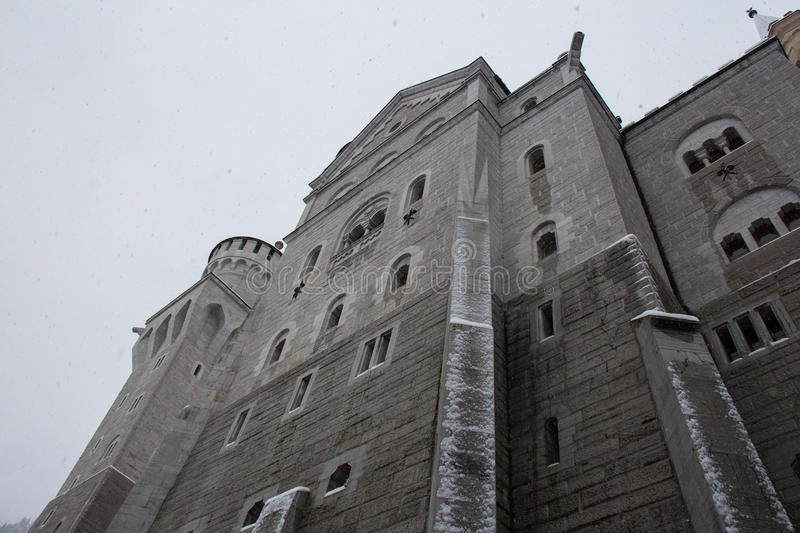 Neuschwanstein Castle in winter time. Fussen. Germany. Close up view. royalty free stock photos