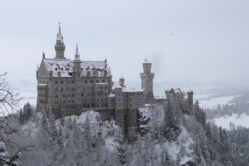 Neuschwanstein Castle in winter time. Fussen. Germany. Fussen, Germany - December 26 2014: view of the Neuschwanstein Castle in winter time on December 26 2014 royalty free stock photos