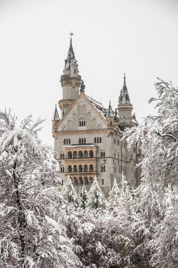 Neuschwanstein kasztel z koc śnieg w zimie zdjęcie stock