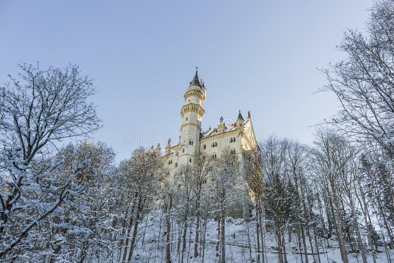 Neuschwanstein-Schloss im Winkel in Fussen lizenzfreie stockfotos