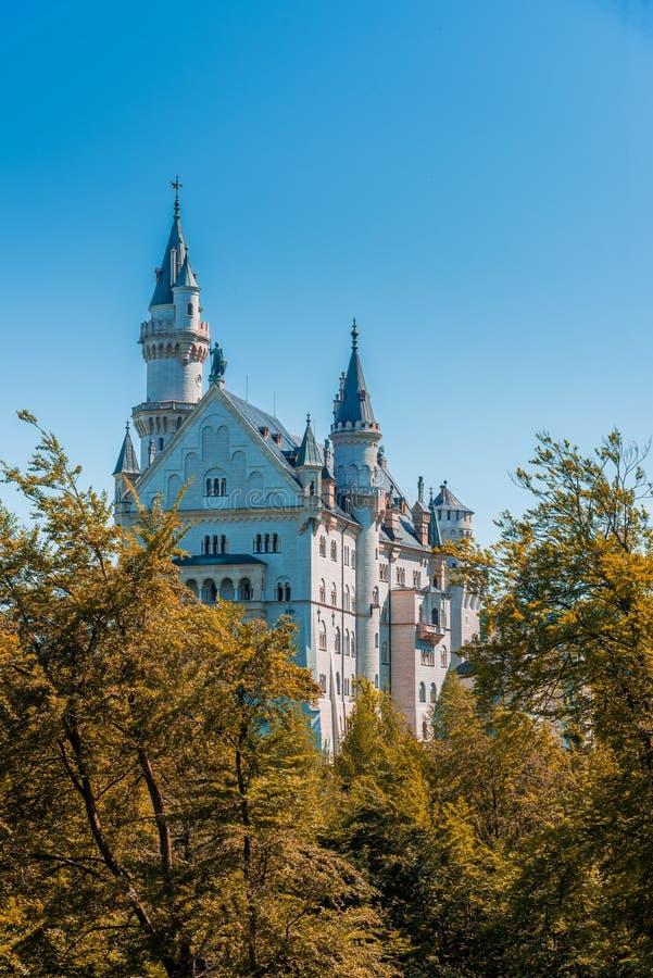 Neuschwanstein slott med höstskogen som förgrund ändring arkivbilder