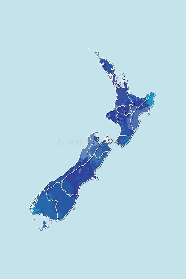 Neuseeland-Aquarellkarten-Vektorillustration der blauen Farbe mit Grenzen von verschiedenen Regionen auf hellem Hintergrund stock abbildung