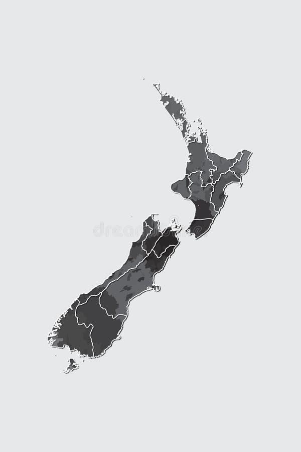 Neuseeland-Aquarellkarten-Vektorillustration der schwarzen Farbe mit Grenzen von verschiedenen Regionen auf hellem Hintergrund vektor abbildung