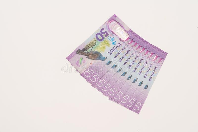 Neuseeland fünfzig Dollaranmerkungen aufgelockert stockbild
