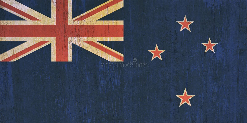 Neuseeland-Flaggenhintergrund in der Weinleseart stockfotos