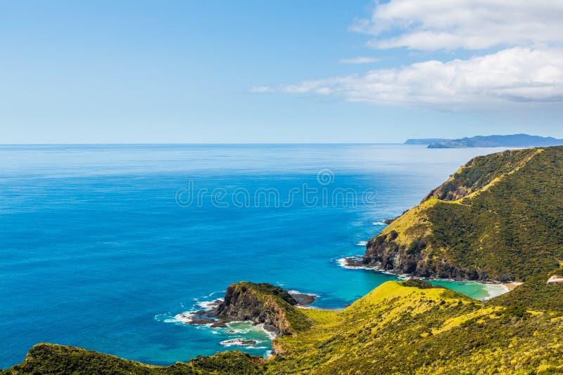 Neuseeland-Küstenlinie, die in Richtung der Geistbucht blickt lizenzfreie stockbilder