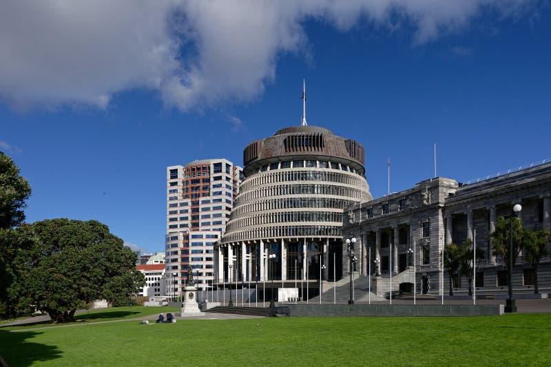 Neuseeland-Parlamentsgeb?ude gegen einen blauen Himmel stockbild