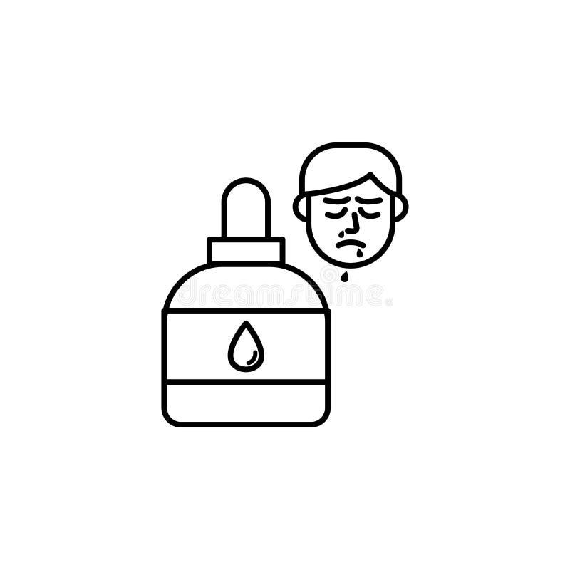 Neusnevel, allergisch gezichtspictogram Element van problemen met allergieënpictogram Dun lijnpictogram voor websiteontwerp en on royalty-vrije illustratie