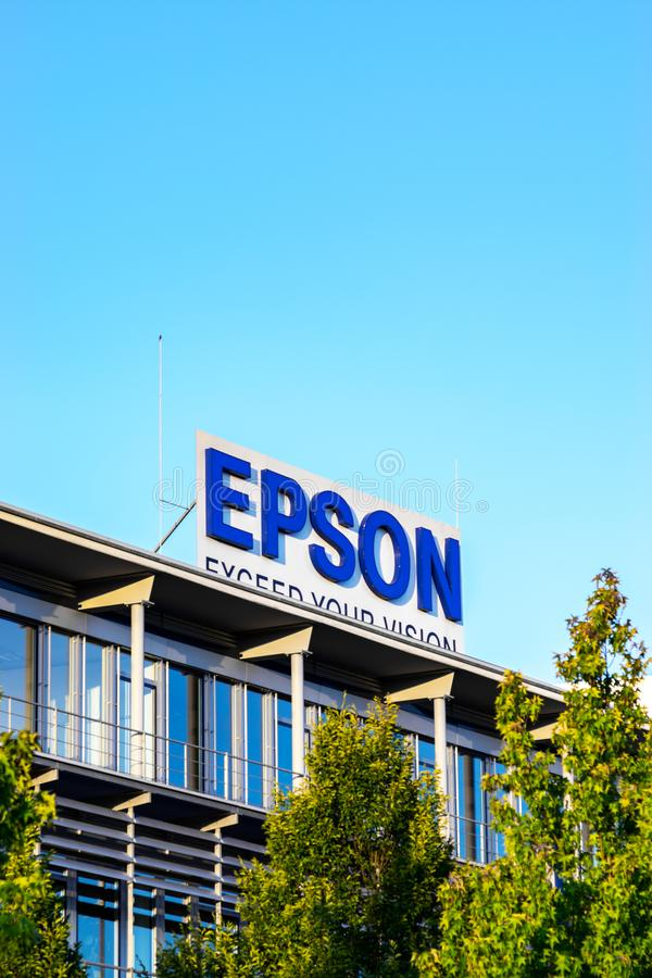 Neuss Germany June 29th 2018: Epson logo sign at their branch building. Epson logo sign at their branch building royalty free stock image