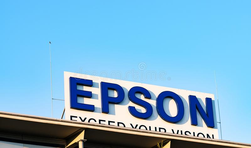 Neuss Germany June 29th 2018: Epson logo sign at their branch building. Epson logo sign at their branch building stock images