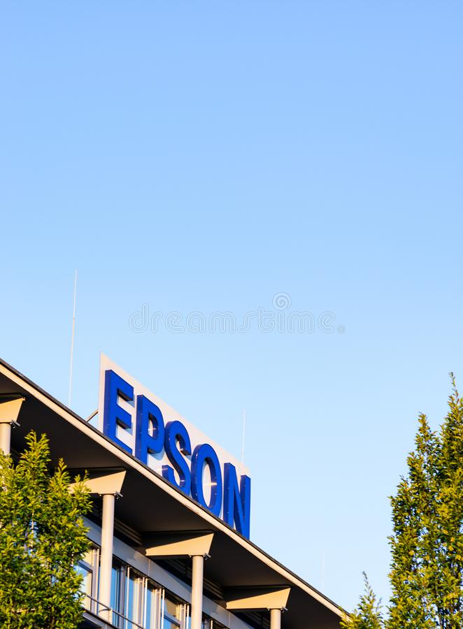 Neuss Germany June 29th 2018: Epson logo sign at their branch building. Epson logo sign at their branch building stock photo