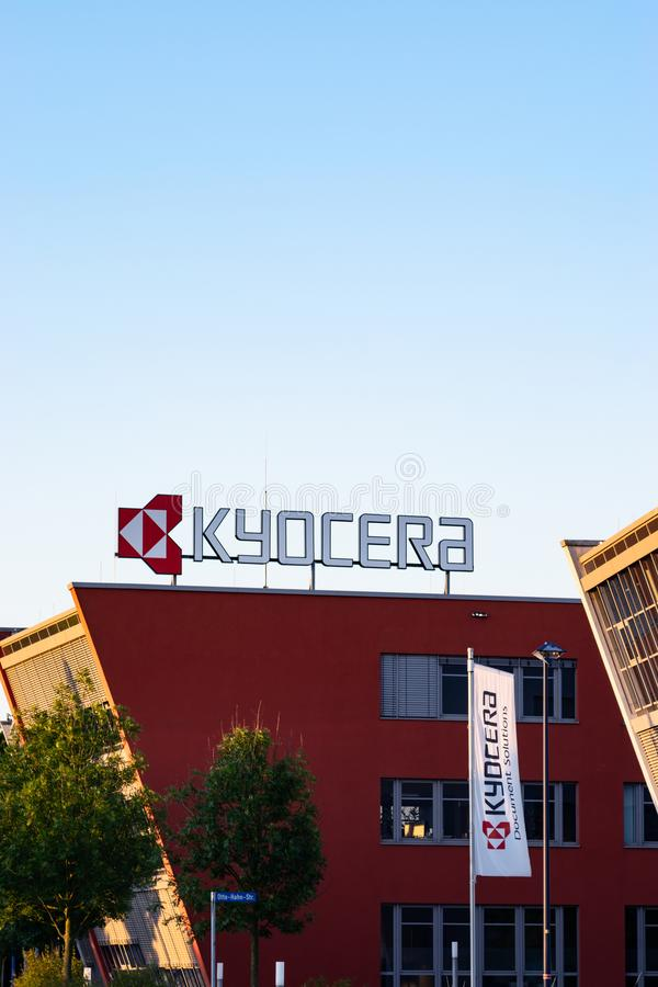 Neuss Germany June 29th 2018: Kyocera logo sign at their branch building. Kyocera logo sign at their branch building stock images