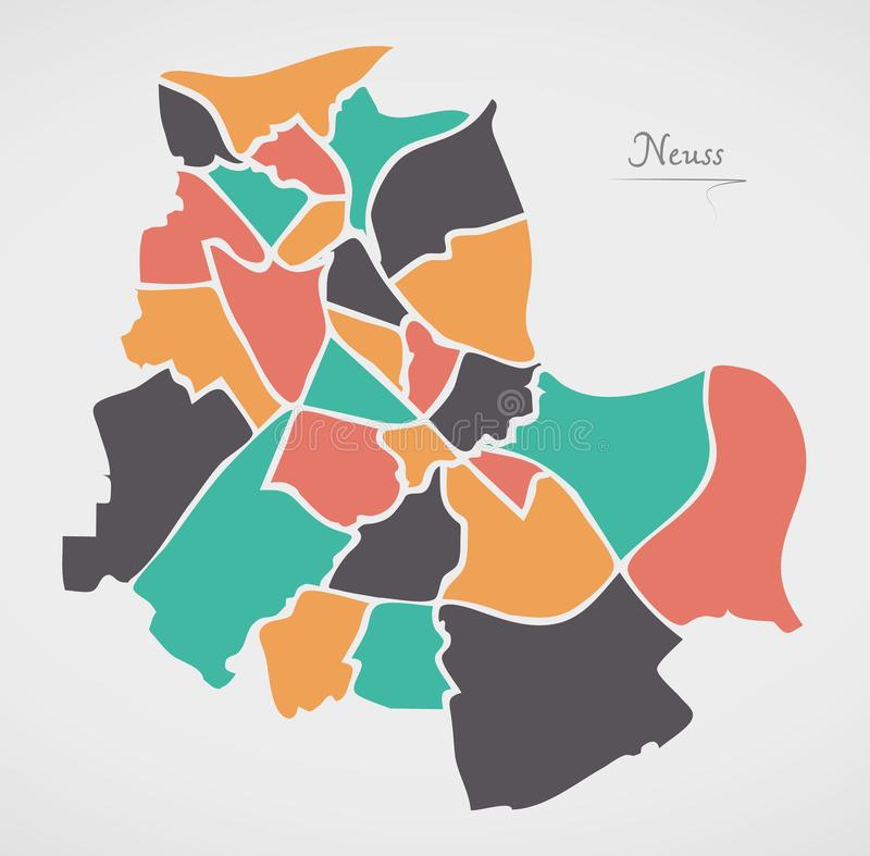 Neuss Map with boroughs and modern round shapes. Illustration royalty free illustration