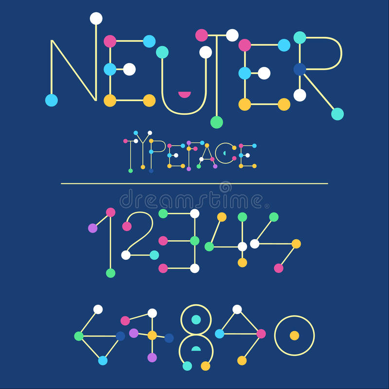 Neuter modern flat font made with dots, good for motion and game design, colorful font on background. Modern font , uppercase and lowercase typefase symbols royalty free illustration