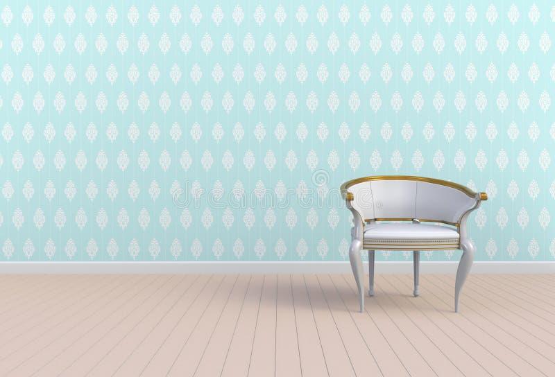 Neutraal binnenland met stoel op lege blauwe muurachtergrond stock illustratie