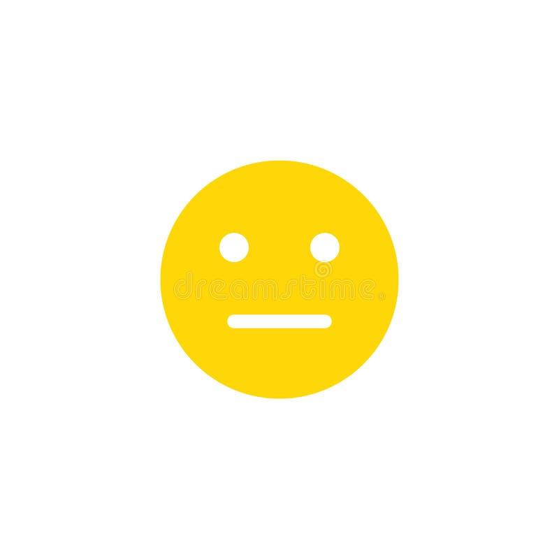 Neutraal emoji antropomorf gezicht Gele die glimlach op een witte achtergrond wordt geïsoleerd royalty-vrije illustratie
