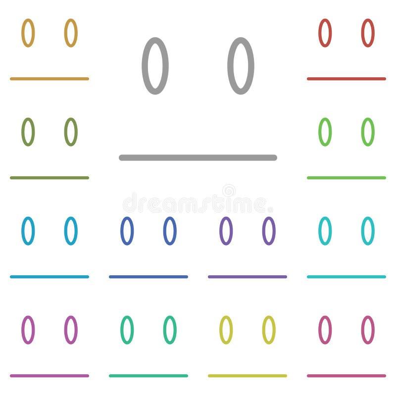 Neutraal, gelaatspictogram met meerdere kleuren Eenvoudige dunne lijn, omlijnde vector van emotionele pictogrammen voor ui en ux, stock illustratie