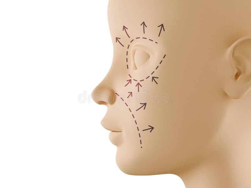 Neutraal gezichtsprofiel met esthetisch chirurgieteken royalty-vrije illustratie