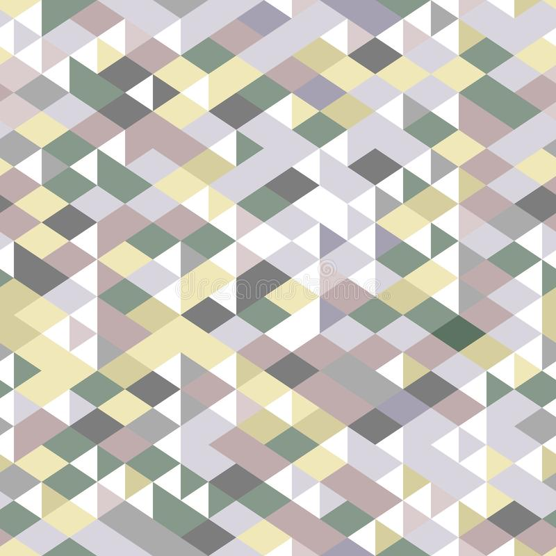 Neutral colored triangles geometric seamless pattern, vector royalty free illustration