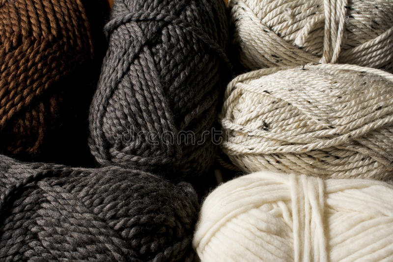 Neutral Colored Yarn Skeins. Close-up stock photography