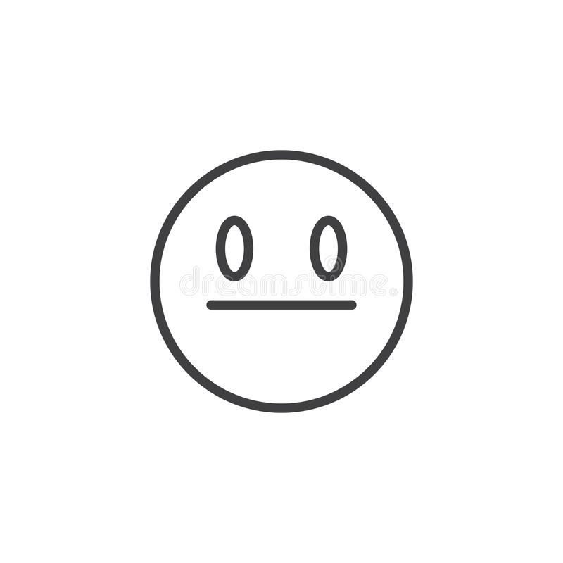 Neutral Face emoji line icon. Linear style sign for mobile concept and web design. Straight Face emoticon outline vector icon. Symbol, logo illustration vector illustration