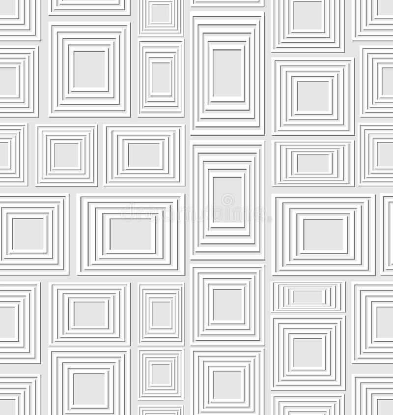 Neutral low contrasting seamless background composed of light embossed squares and rectangles, abstract vector tile vector illustration