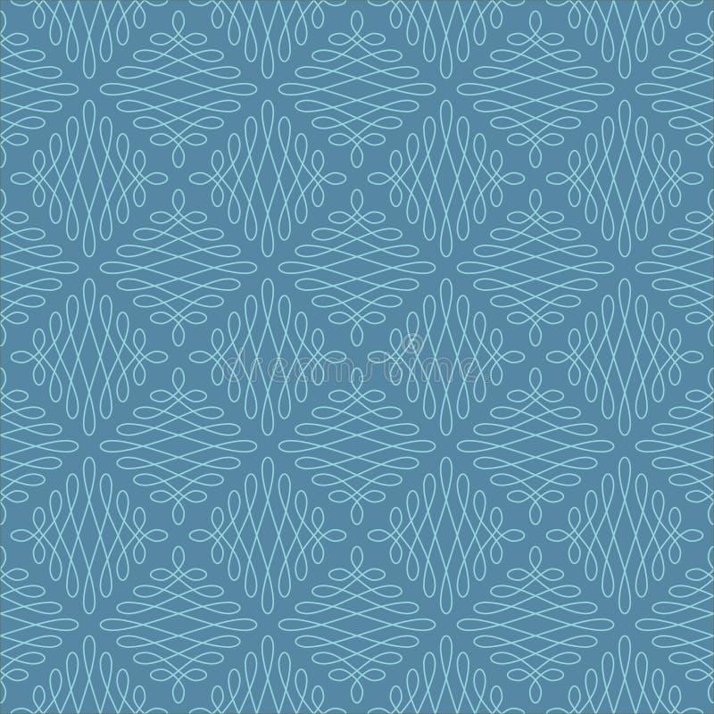 Neutral Seamless Linear Flourish Pattern. Neutral Seamless Linear Pattern. Tileable Geometric Outline Ornate. Vintage Flourish Vector Background. Iisland royalty free illustration