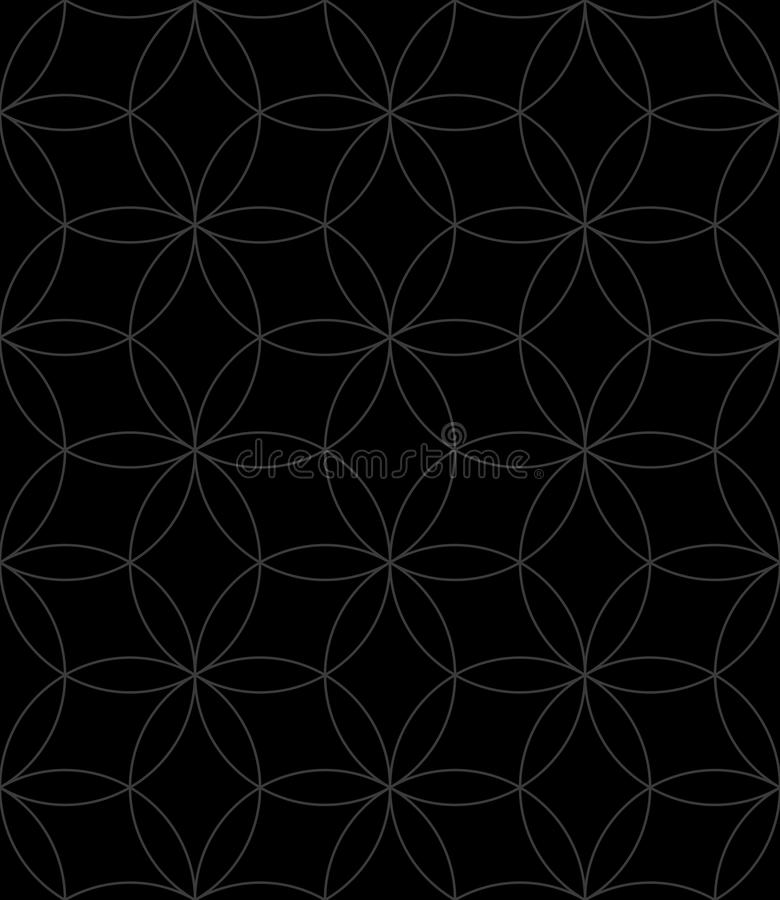 Neutral Seamless Linear Pattern. Geometric Circles Vector Background. Neutral Seamless Linear Pattern. Tileable Geometric Outline Ornate. Circles Vector vector illustration