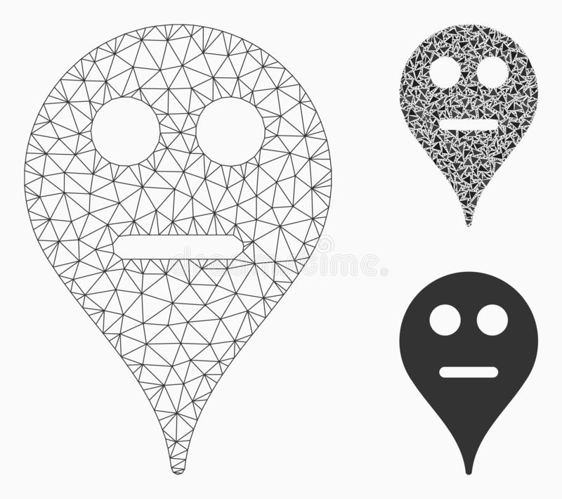 Neutral Smiley Map Marker Vector Mesh Carcass Model and Triangle Mosaic Icon. Mesh neutral smiley map marker model with triangle mosaic icon. Wire carcass vector illustration
