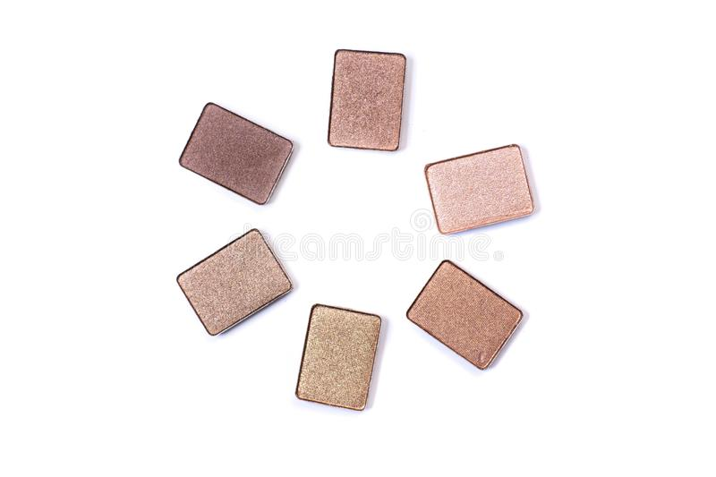 Neutral toned eyeshadow make up palette isolated on a white background royalty free stock photo