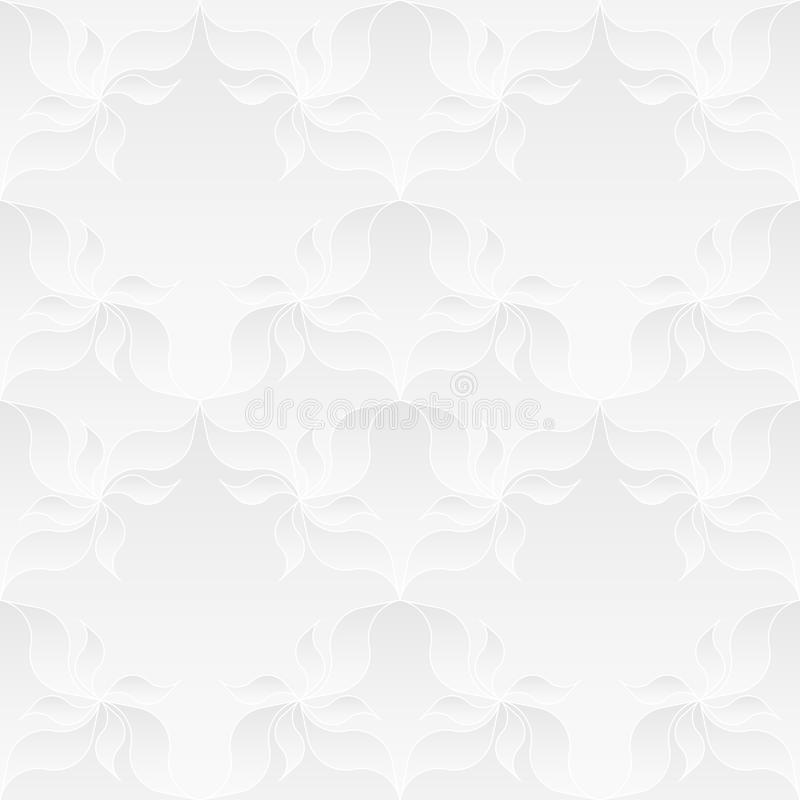 Neutral White Floral Texture. Neutral white texture. Decorative background with 3d pleated paper effect. Vector seamless repeating pattern with floral elements vector illustration