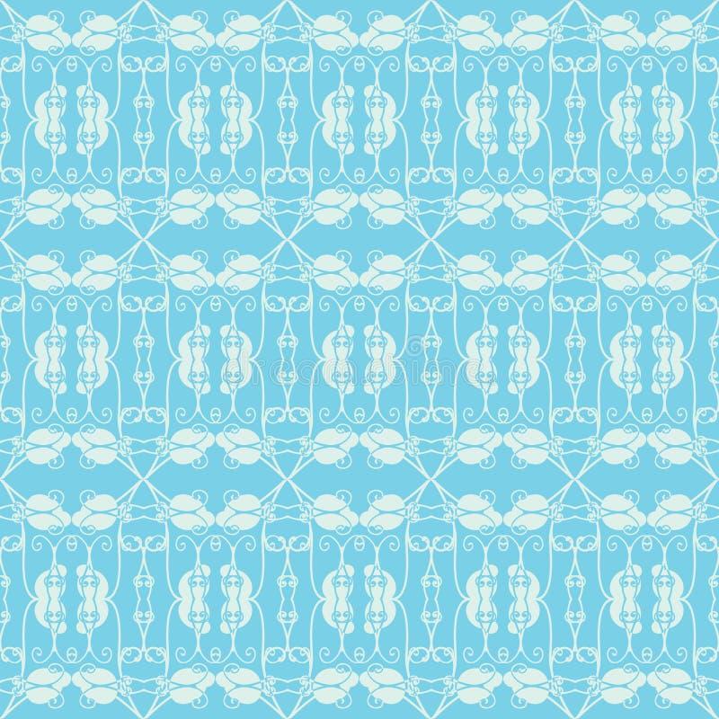 Neutraler Blauer Blumenhintergrund. Strudel Und Kurve