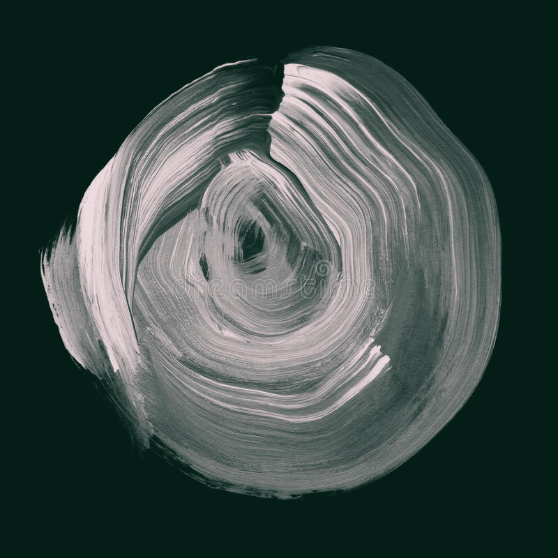Neutraler grauer strukturierter Acrylkreis Watercolourfleck auf schwarzem Hintergrund stock abbildung
