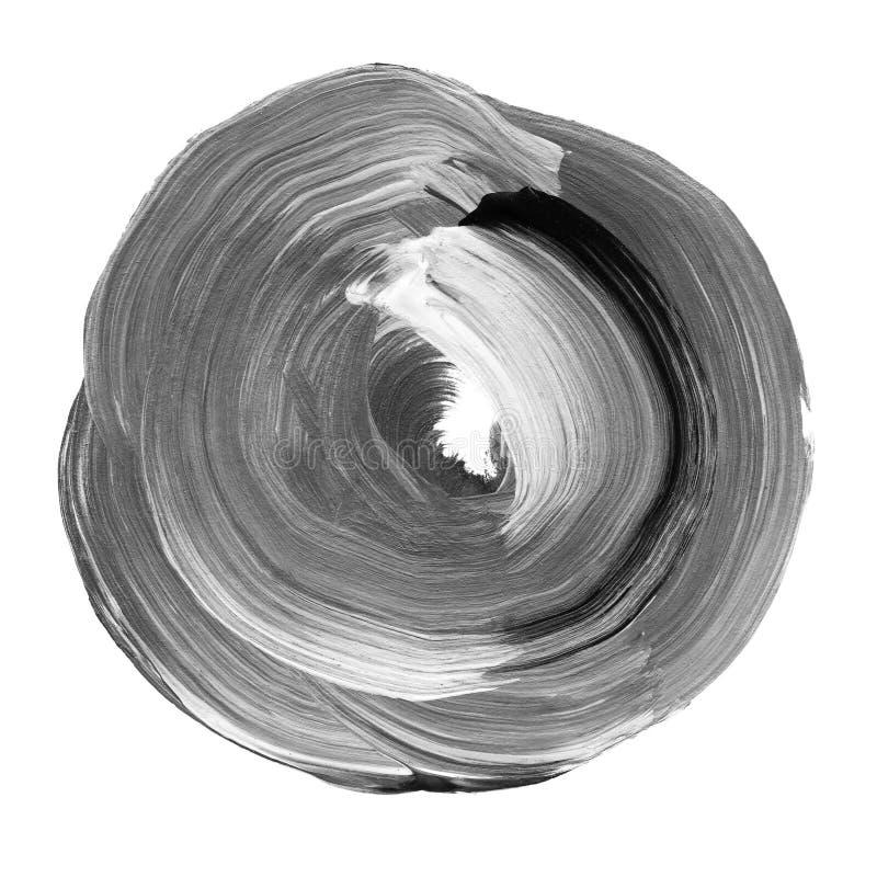 Neutraler grauer strukturierter Acrylkreis Watercolourfleck auf weißem Hintergrund lizenzfreie abbildung