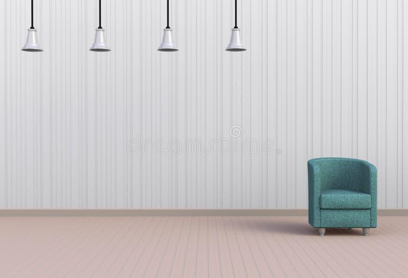 Neutraler Innenraum mit Stuhl und Lampe auf leerem weißem Wandhintergrund lizenzfreie abbildung