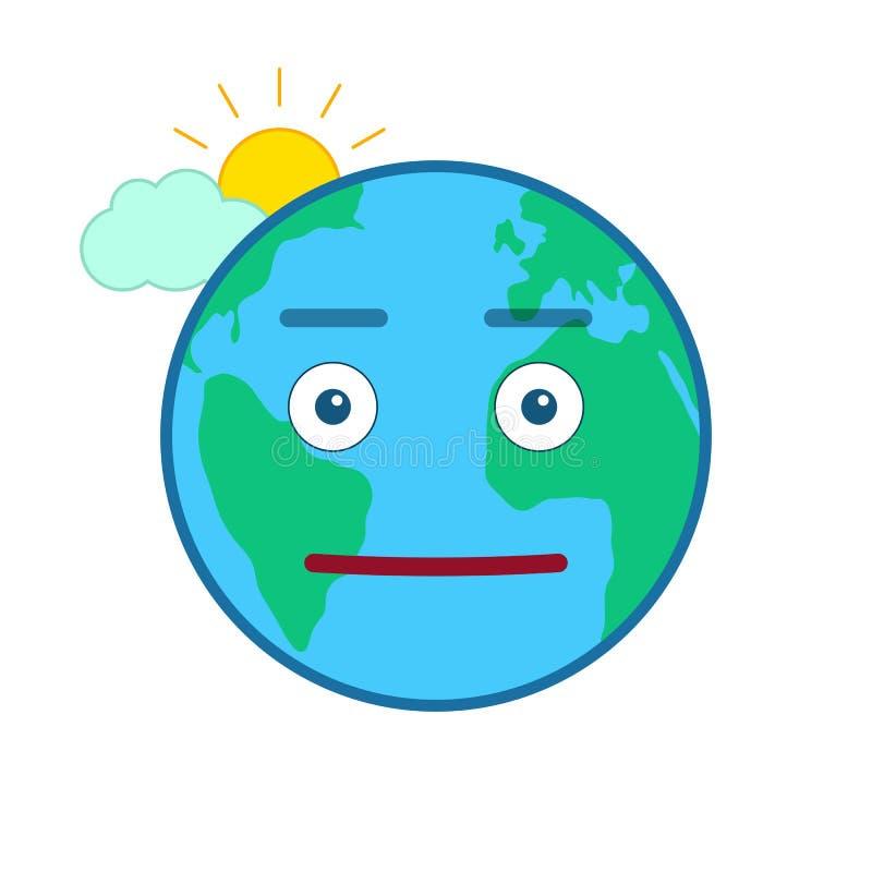 Neutralnej światowej kuli ziemskiej odosobniony emoticon ilustracji