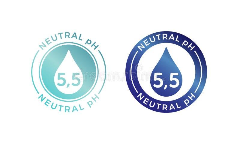 Neutralny pH równowagi loga ikona dla szamponu lub śmietanki ilustracja wektor