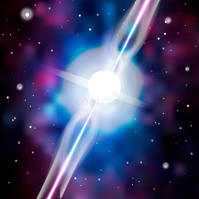 Neutron star makes radiation ray waves in the deep universe. Blitzar. Pulsar. Vector illustration. 10eps stock illustration