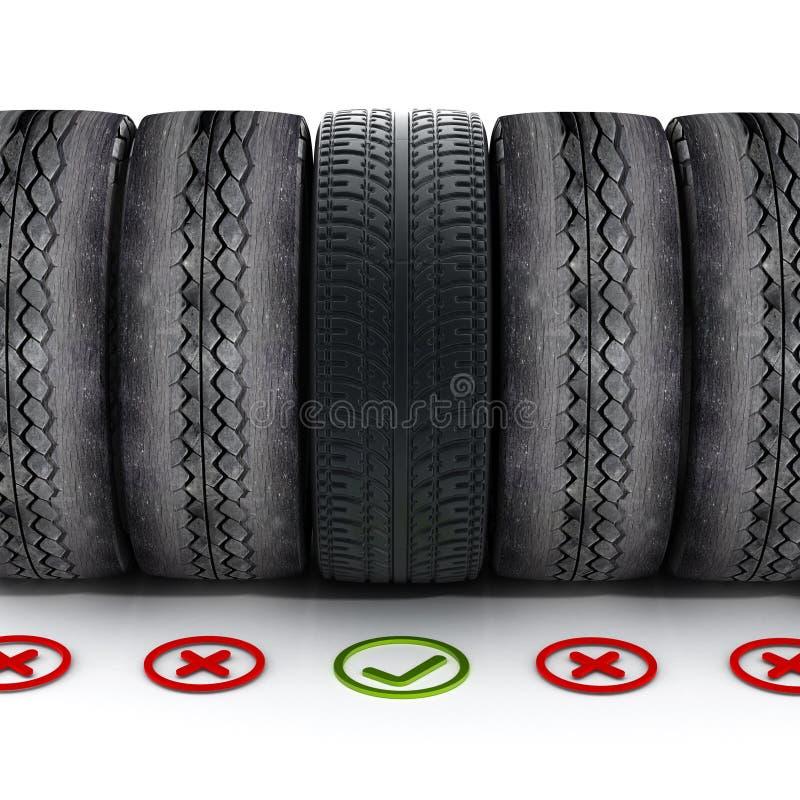 Neuwagenreifen mit dem grünen Häkchen, das heraus unter alten Reifen steht lizenzfreie abbildung