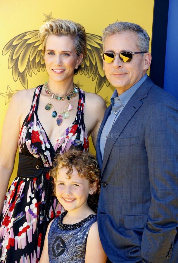 Nev Scharrel, Kristen Wiig et Steve Carell images libres de droits