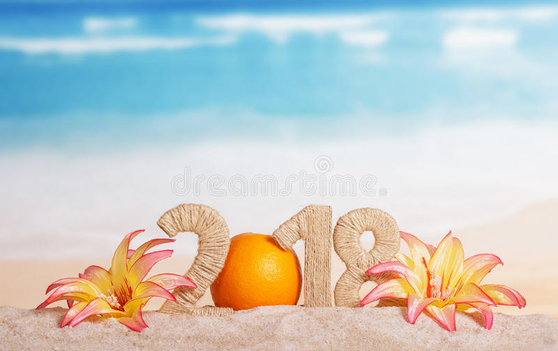 Nev Year inscription 2018 decorated with orange and flowers stock images