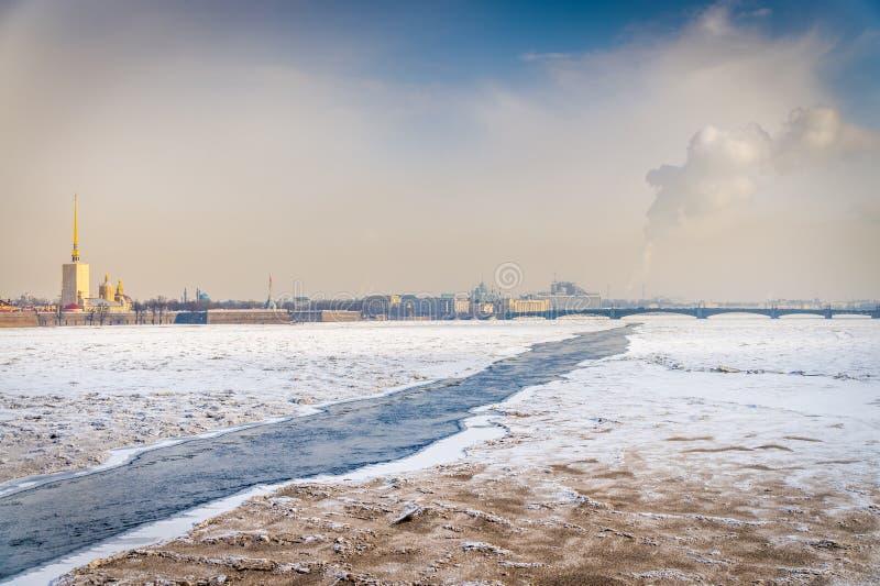 Neva congelado imágenes de archivo libres de regalías