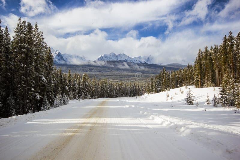 Neva na estrada estreita e ventosa pequena da montanha através da floresta com picos altos atrás, o parque nacional de Banff, Can imagens de stock